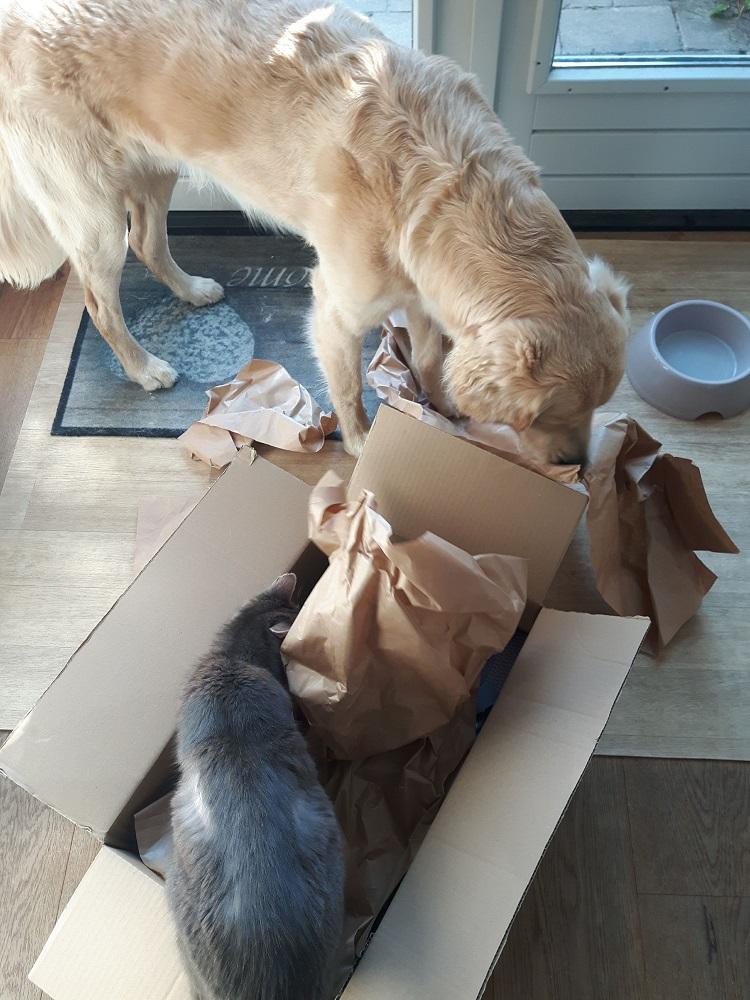 Guus krijgt spullen van Sis & Dog