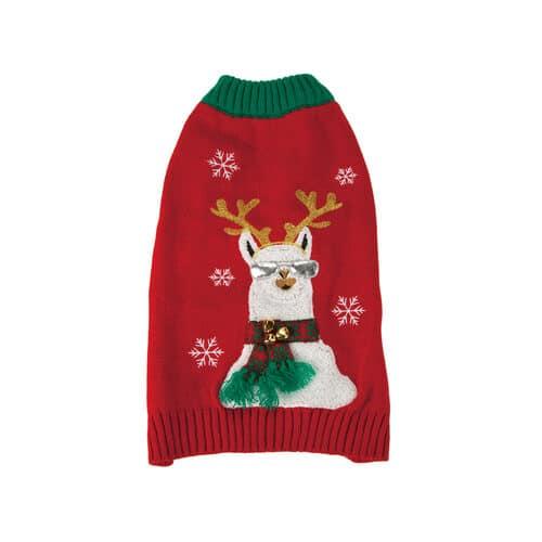 Kerststrui voor de hond met lama print