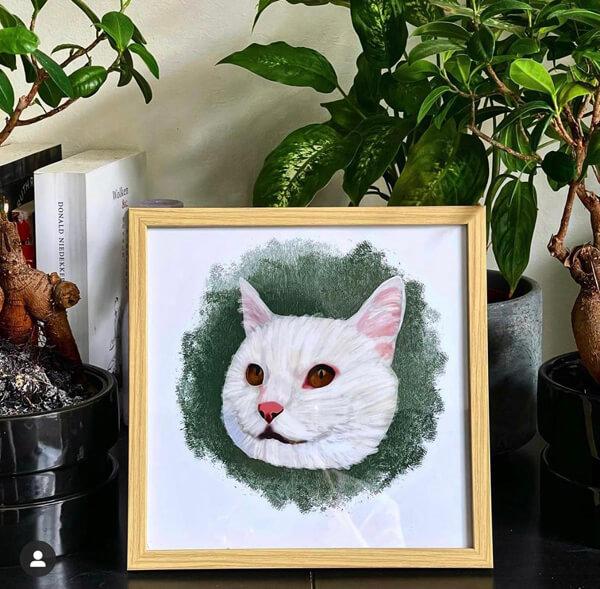 dier op papier digitale tekening kat lijstje